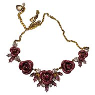 Betsey Johnson Goldtone Glitter Rose frontal necklace
