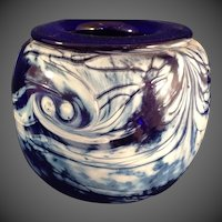 Mark Chapman Art Glass Cobalt and White Vase