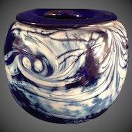 Mark Chapman Art Glass Cobalt and White Vase