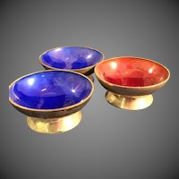 3 Avanti Mexico Sterling and Enamel salt cellars