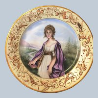 Antique Sevres Porcelain Hand painted  Plate  Grecian Lady with book