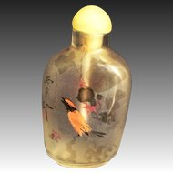 Reverse painted peking  glass snuff bottle with Birds