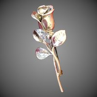 Sterling Silver Rose flower pin Brooch