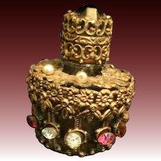 Irice Metal and jewel overlay small perfume bottle