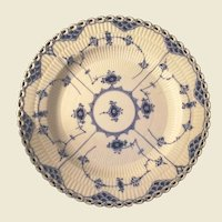Royal Copenhagen Blue Fluted Open lace Dinner Plate 9 1/2 inches