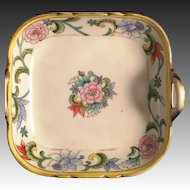 Hand Painted Nippon 2 handle candy dish Pink Flowers