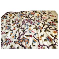 Vintage handmade Crewel work embroidered Tree of Life coverlet
