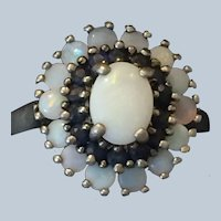 Antique Sterling Silver ring with White Crystal Opals and Sapphires