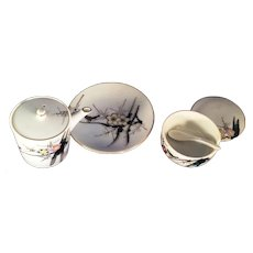 Made in Japan 3 piece Condiment Set Bird & Lotus Blossom