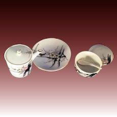 Made in Japan 3 piece Condiment Set Bird & Lotus Blossom
