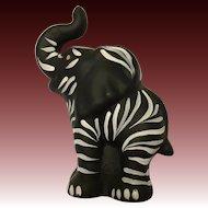 Fenton Art Glass Black Zebra ltd. Ed Elephant