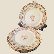 4 Theodore Haviland Limoges porcelain Dessert plates Pink Flowers