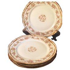 4 Haviland Limoges Porcelain Salad Luncheon plates pink flowers