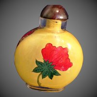Reverse painted Oriental glass snuff bottle