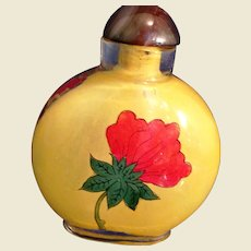Reverse painted Oriental glass snuff bottle