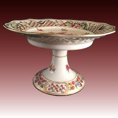 Schumann Bavaria Chateau Dresden  pierced Rim footed Candy Dish