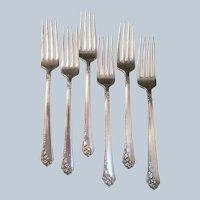 6 Heirloom Sterling Damask Rose Luncheon Forks