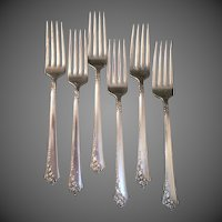 6 Heirloom Sterling Damask Rose Luncheon Forks