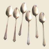6 Heirloom Sterling Damask Rose Teaspoons