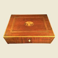Antique Inlay Memorial Wood Box