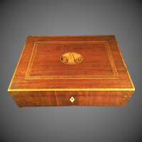 Antique Inlay Memorial Wood Box