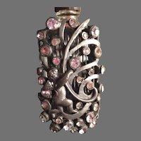 Rare Hattie Carnegie perfume dress clip with Rhinestones and Cherub