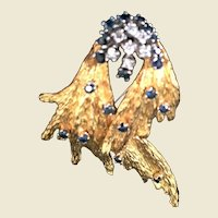 18kt yellow gold spray broach pin Diamonds And Sapphires