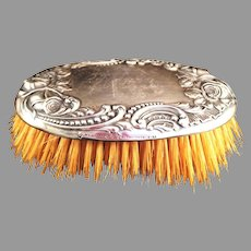 Towle Sterling Clothes Brush with repousse  Rose design