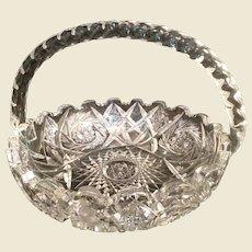 American Brilliant Cut Glass Basket twist handle