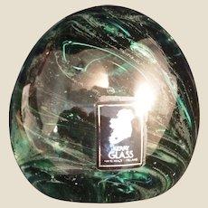 Kerry Glass Ireland green swirl paperweight
