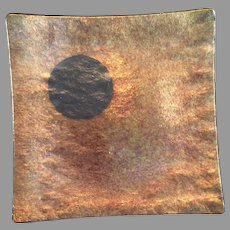 Kurt McVay dichroic iridescent fused art glass dish