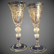 2 Antique Cut Glass aperitif glasses with bubbles in stems