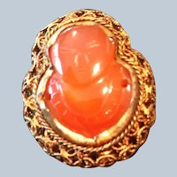 Vintage Filigree brooch with carved Carnelian face