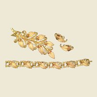 Joseph Mazer Parure, Bracelet, Broach and Earrings Molded leaves and Rhinestones