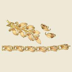 Joseph Mazer Parure, Bracelet, Broach and Earrings Molded leaves and Rhinestones