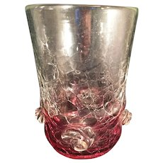 Blenko Ruby to clear crackle glass large vase with Prunts