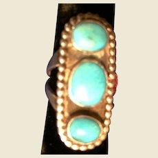 Navajo Sterling ring with Blue Gem mine Turquoise