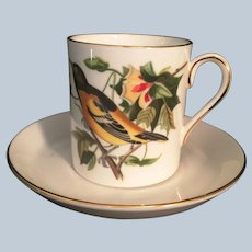 Royal Chelsea Bone China Baltimore Oriole Demitasse Cup and Saucer