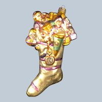 Christopher Radko gold glittery Christmas stocking ornament