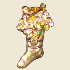 Christopher Radko gold glittery Christmas stocking ornament