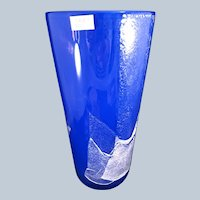 "Blue Kosta Boda Glass MADRID 10"" vase"
