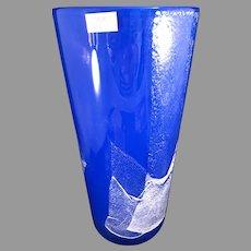 """Blue Kosta Boda Glass MADRID 10"""" vase"""