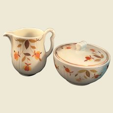 Halls Jewel Tea Autumn Leaf gravy pitcher and covered drippings bowl. Mary Dunbar