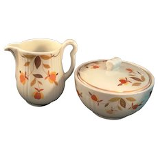 Hall Jewel Tea Autumn Leaf gravy pitcher and covered drippings bowl. Mary Dunbar