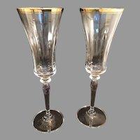 2 Mikasa Crystal Jamestown Champagne Flutes
