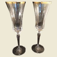 2 Mikasa Crystal Jamestown Champagne Flutes