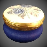 Crummles & Co. England trinket box with Blue Flowers
