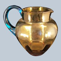Vintage Honey Amber glass pitcher with Aqua Handle
