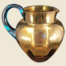 Honey Amber Vintage glass pitcher with Aqua Handle