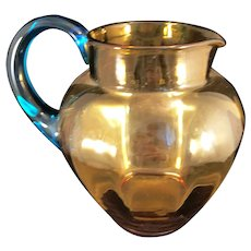Honey Amber Vintage glass pitcher with Aqua Handle